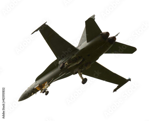 Canvastavla Deck militarily fighter bomber and attack aircraft on white background
