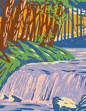 WPA Poster Art Of Boykin Creek Waterfall In Angelina National Forest Located In East Texas In Parts Of San Augustine, Angelina, Jasper And Nacogdoches Counties In Works Project Administration Style.