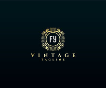 Initial FY Antique Retro Luxury Victorian Calligraphic Emblem Logo With Ornamental Frame.