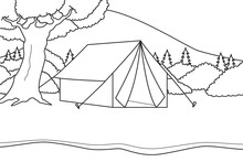 Camping On A Tent At River Side With Mountain, Bushes, And Trees View. Black And White Background. Coloring Book Illustration. Vector