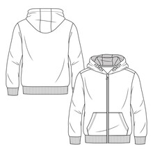 Boys Sweatshirt Hoodie Fashion Flat Sketch Template. Young Men Zip Front Top Technical Fashion Illustration. Drop Shoulders Ad Front Pocket