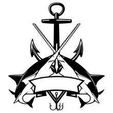 Stylized Fish, Fishing Logo, Sawfish. Template Club Emblem. Fishing Theme Vector Illustration.