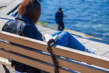 Young Girl On The Embankment Reads A Book, Vacation At The Seaside, Student Vacation
