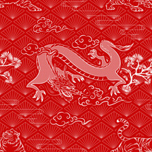 Seamless Art Japanese Repeat Pattern Bright And Dark Green Dragon Flying Looking Down With Clouds Surrounded And Tiger Bowing Looking Back From The Ground On Red Diamond Background For Wrapping Paper