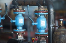 Pavlodar, Kazakhstan - 05.29.2015 : Mechanical Knobs For Monitoring The Pressure In Pipes At A Thermal Power Plant