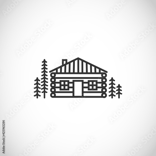 Fotografija Log house, wooden cabin thin line style vector icon