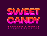 Vector tasty sign Sweet Candy. Bright glossy Font. Gradient set of Alphabet Letters and Numbers set