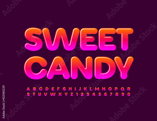 Obraz Vector tasty sign Sweet Candy. Bright glossy Font. Gradient set of Alphabet Letters and Numbers set - fototapety do salonu