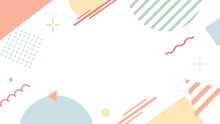 幾何学模様のカラフルなフレーム 枠 背景 ポップ 図形 丸 三角 フラット かわいい イラスト
