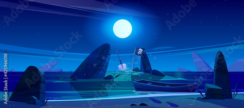 Night landscape of sea beach, boat and island in water with pirate flag and shovel. Vector cartoon illustration of ocean shore with wooden ship, black flag with skull, stones and moon in sky