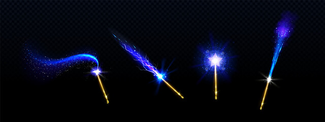 Magic wands with blue star and glowing sparkle trails, gold colored rods with shiny fairy dust and neon light effect trace, isolated objects on black background, Realistic 3d vector illustration, set