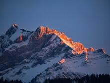 Snowy Mountain In The Evening Light (Mount Pilatus, Switzerland)