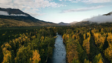 Aerial View Of Russian River In Alaska, Usa