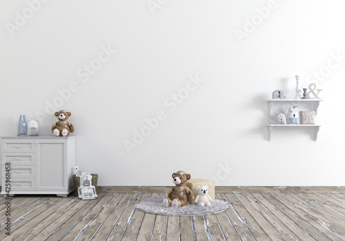 3D children's room interior where you can display your products in the backgroun Fototapeta