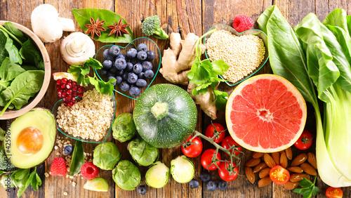 Obraz health food selection- top view - fototapety do salonu