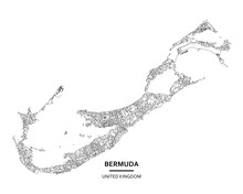 Bermuda (United Kingdom) Light Poster City Centre Map. High Printable Detail Travel Vector Map Template With Water Objects, Roads, Railways.