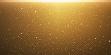 Christmas Gold Confetti Stars Are Falling, Shining Stars Fly Across The Night Sky Amidst The Reflection Of The Light Points Of Space. Holidays Vector Background. Magic Shine.