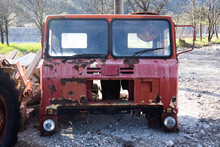 Old Truck Wreck Cabin In Landfill, Rusty Scrap
