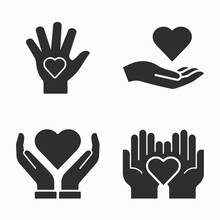 Charity Icons Set On White Background.