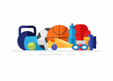 Group Of Sport Equipment. Flat Vector Illustration. Balls, Gaming Items, Accessories For Fitness Isolated On White Background. Fits For Sporting Store Department Advertising Banner