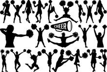 Cheerleader SVG Cut Files   Cheer Mom Svg   Cheer Svg   Cheer Girls Silhouette Bundle