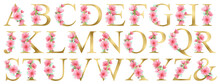 Watercolor Gold Floral Alphabet Set With Summer Pink Flowers. Floral Glitter Letters. Wedding Invitations, Baby Shower, Sublimation Design, Birthday, Other Concept Ideas.