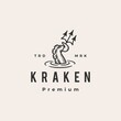 kraken octopus trident hipster vintage logo vector icon illustration