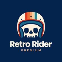 Retro Skull Helmet Rider Motorcycle Club Logo Vector Icon Illustration