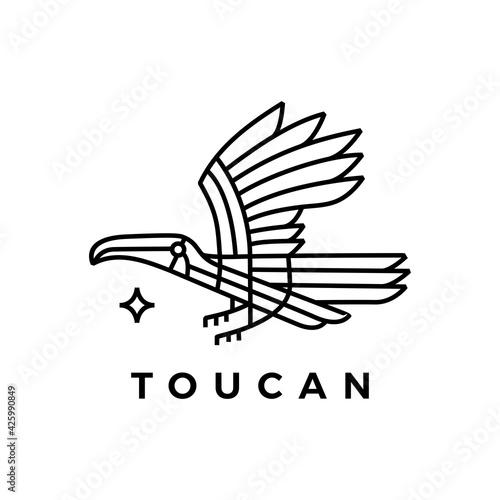 Fototapeta premium toucan bird monoline logo vector icon illustration
