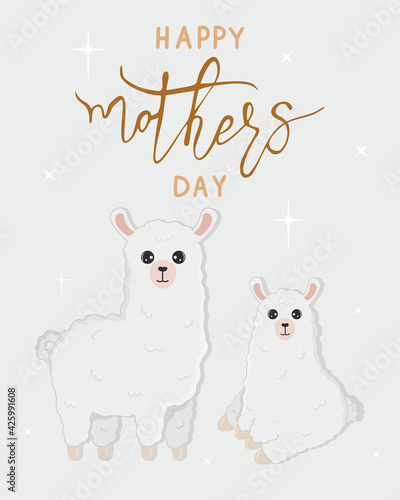 Fototapeta premium Vector cartoon card. Happy mother's day with llama family on grey background. Cute alpaca