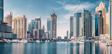Panoramic Citiscape View Of The Neighborhood Of The Dubai Marina Area With Skyscrapers Where Residences And Hotels Are Located