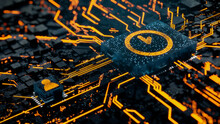 Time Technology Concept With Clock Symbol On A Microchip. Orange Neon Data Flows Between The CPU And The User Across A Futuristic Motherboard. 3D Render.