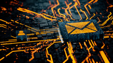 Email Technology Concept With Envelope Symbol On A Microchip. Orange Neon Data Flows Between The CPU And The User Across A Futuristic Motherboard. 3D Render.
