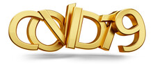 Covid-19 Golden Symbol. Corona Virus Golden Metallic Bold Letters 3d-illustration