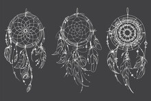 Dreamcatcher Hippie Decoration Tattoo Vector Line. Boho Style, Beads And Feathers.