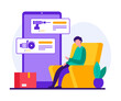 Online shopping power tools for repair and construction. Flat style vector illustration of cartoon character of modern man sitting in chair and using mobile app on smartphone while ordering goods