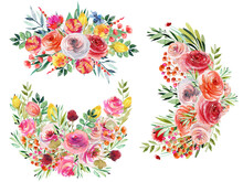 Set Of Watercolor Summer Floral Bouquets And Compositions Of Bright Wildflowers, Green Leaves And Branches; Hand Painted Isolated Illustrations On A White Background