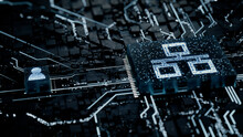 Network Technology Concept With Ethernet Symbol On A Microchip. White Neon Data Flows Between The CPU And The User Across A Futuristic Motherboard. 3D Render.