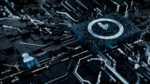 Time Technology Concept With Clock Symbol On A Microchip. White Neon Data Flows Between The CPU And The User Across A Futuristic Motherboard. 3D Render.