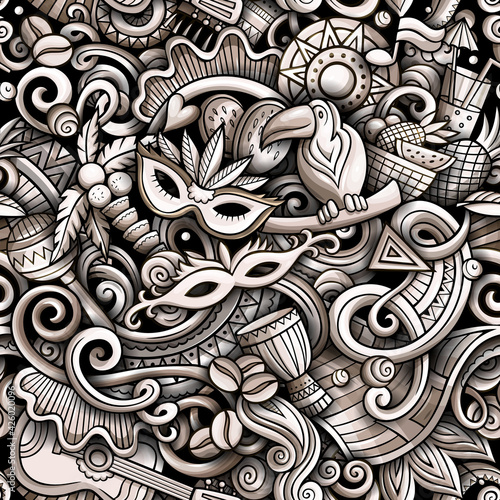 Fototapeta Cartoon doodles Brazil seamless pattern. obraz
