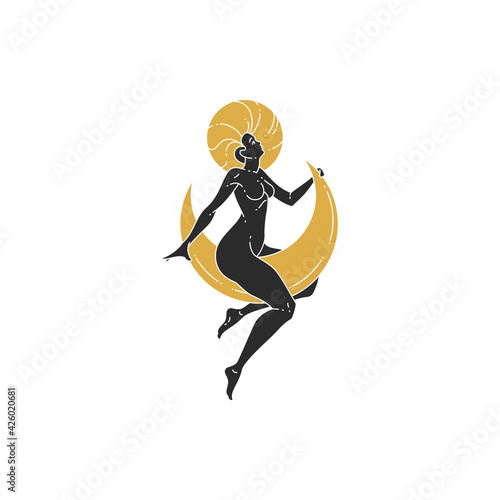 Vászonkép Beauty woman sitting on moon and stars silhouette vector illustration