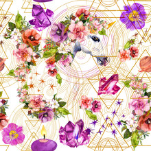 Unicorn, Flowers, Gem Stones, Golden Geometric Circles And Magic Triangles. Magical Watercolor