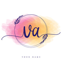VA Initial Handwriting Logo. Hand Lettering Initials Logo Branding, Feminine And Luxury Logo Design Isolated On Colorful Watercolor Background.