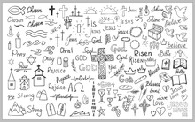 Big Set Of Different Christian Icons, Labels, Symbols And Inscription. Hand Drawn Illustrations Isolated On White Background. For Print And Design Religious Accessories. Vector Illustration