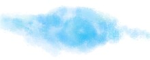 Blue And White Background Of Digital Watercolor Clouds On Bright Blue Background, Abstract Painted White Smoke Or Haze In Blotches And Blobs.