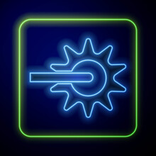Glowing Neon Cowboy Horse Riding Spur For Boot Icon Isolated On Blue Background. Vector