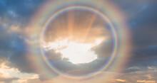 Circular Rainbow Cloud With Amazing Sunset