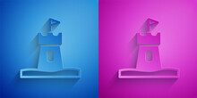Paper Cut Sand Tower Icon Isolated On Blue And Purple Background. Paper Art Style. Vector