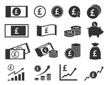 Pound Sterling Coins And Banknotes Icons, British Money Signs Set