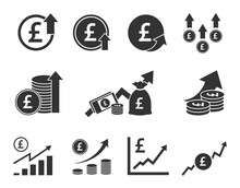 Pound Sterling Currency Increase Icon Set, GBP Money Rate Growth